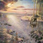 """Hälsingland"". Akryl på canvas. 100*70cm, 2013."